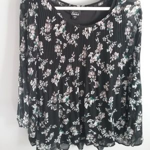 Black Floral Silky Shirt